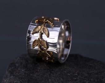 CLEARANCE, REDUCED by 25% Sterling Silver Patterned Band with Encircling Brass Leaves, Growth Ring