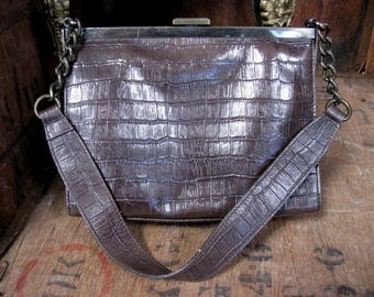 Brown Bag, Vintage Bag, Brown Purse, Mock Croc Bag, Over Arm Bag, 1960s Bag, 1960s Handbag, 1960s Purse, Kelly Bag, 1990s Bag, Mad Men