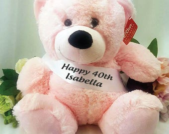 Personalised Birthday Bear with Sash- Light Pink