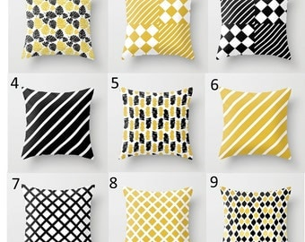 Decorative Throw Pillow Cover - Pattern, Square, Rectangular, Double-sided print, Indoors, Outdoors, Mix @ Match, Black, White, Yellow