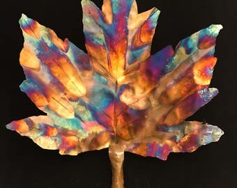 Flame Painted Copper Maple leaf