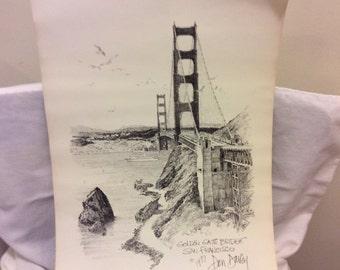 "Vintage 1977  Signed Lithograph Print, Art Print by Don Davey "" The Golden Gate Bridge "" Man Cave, San Francisco Collectible Print"