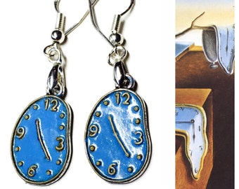 Persistent Melting Clocks Earrings, Dali Inspired Hand Painted Alloy, 925 Sterling Wires, Persistence of Memory Silver Blue Gold