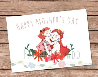 Happy Mother's Day Card Printable Illustrated