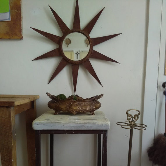 Vintage Metal with Natural Rust Wall sun Mirror by ...