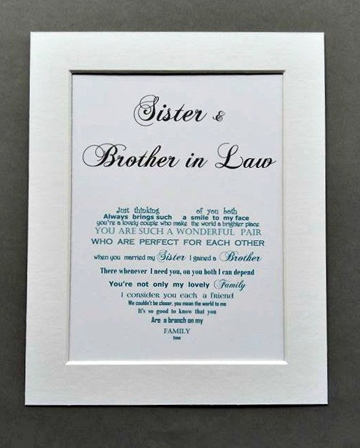 Wedding Gift Ideas For Brother: Brother Gift Sister In Law Gift Sister Gift Brother In Law