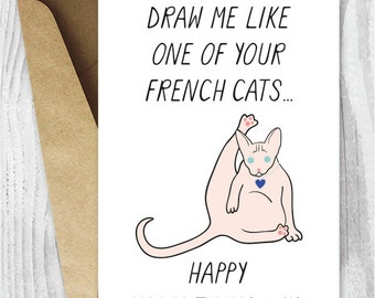 Funny Valentine Printables,  Valentine's Day Sphynx Cat Card, Funny Cat Valentine Instant Download, A4 Cheeky Sphynx Cat Cards, Cat Lovers