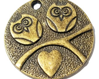 Charms - Bronze Charms - Bronze Owl Charm - Owl Coin Pendant - 12 Owl Coin Charms For Jewelry - Great For Purse Charms, Key Chains - CH-B007