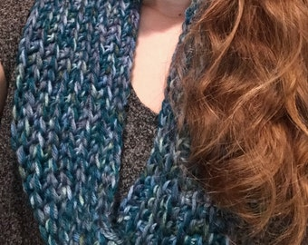 Blue Multi-Color Crochet Infinity Scarf