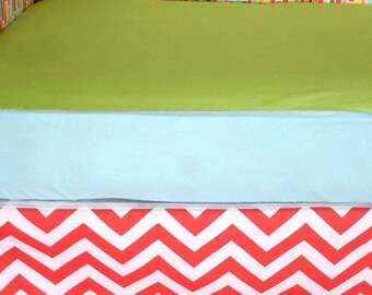 Clearance Sale - Everything must go! Free shipping!! Unique Crib Set in Modern Geometric, Chevron and Solids *Bumpers Sheet Skirt*