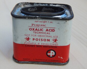 Vintage Poison Purepac Oxalic Acid Caution Poison Tin Skull and Crossbones