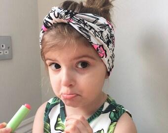 Graffiti print knot headband  / head wrap /turban / baby head wrap knot headband / turban