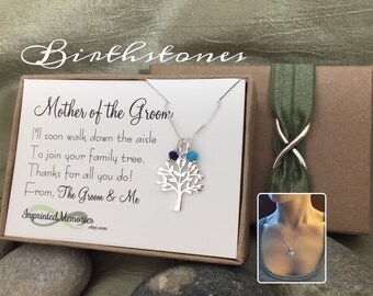 Mother of the GROOM Necklace TINY Genuine Gemstone Birthstone Family Tree Necklace Mother of the Groom Gift from Groom Wedding Gift for Mom