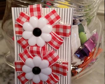 Daisy and Gingham Hair Clips