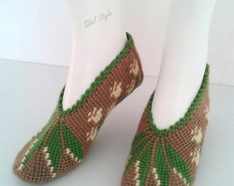 Socks slippers knit slippers hand made Brown taupe and leaf green, woman or teen birthday gift idea.