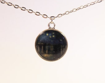 Van Gogh's Starry Night Over the Rhone Painting, Round Necklace