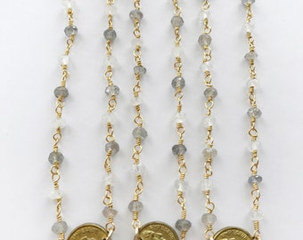 Napoleon Coin on Moonstone & Labradorite