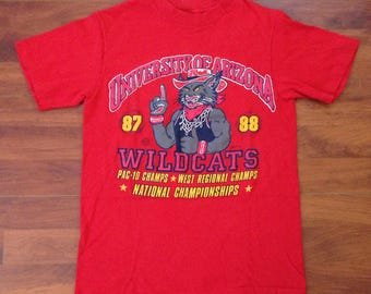 Vintage 80's University of Arizona Basketball T-Shirt - Hanes Beefy-T - Made in the USA - SMALL - Red