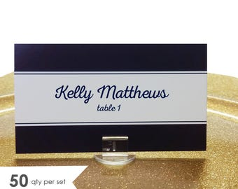 50 Navy Place Cards Flat- Wedding Place Cards Navy- Navy Wedding Decor- Place Cards for Wedding- Place Cards Wedding- Table Name Cards