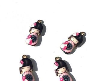 Pink Kokeshi Doll Enamel Charms, Geisha Charms, Enamel Kokeshi Dolls, Geisha Doll Charms 4 pieces