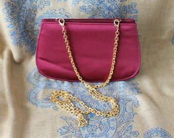 Burgundy Clutch Purse by Carla Marchi,  Formal Evening Bag Gold Chain Strap Vintage Bag
