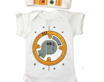 Star Wars Baby BB8 Set Of A Beanie And A One Piece Bodysuit Lap Shoulder Snap On Robot Outfit Or Costume May The Force Be With You!