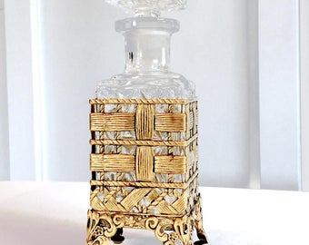 Scotch Decanter Bottle With Brass Footed Stand Vanity Bottle