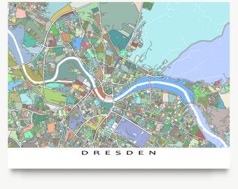 Dresden Map Print, Dresden Germany, Europe City Art Map Poster