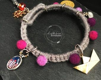 Bracelet gray tassels