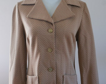 Brown & Rust Chevron Pattern 60's Polyester Blazer by Rosecrest NWT Deadstock Size Large Made in Canada BTK-015