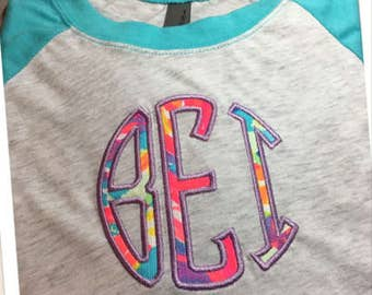 Monogram Shirt, Monogram Raglan, Monogram 3/4 Sleeve Raglan, Lilly Pulitzer Monogram Shirt, Personalized Raglan, Personalized Shirt