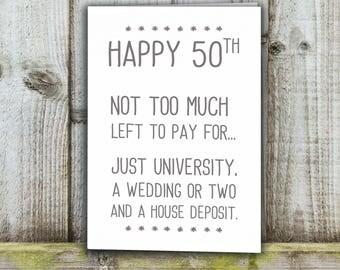 50th Birthday card, fiftieth funny card
