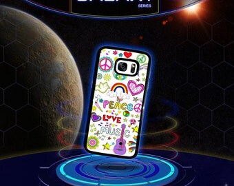 Hippy Colorful Peace Love Music for Galaxy S7 s6 s6 Edge s5 s4 s3 Galaxy s3 s4 Mini Note Edge 2 3 4 Galaxy s5 s4 Active Phone Case