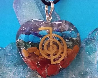 Stunning  ORGONE CHAKRA Crystal Heart Pendant with Copper Cho Ku Rei Reiki Symbol and a Hemp Chain, Orgonite