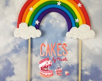 """Fondant Full Rainbow Cake Topper- 6"""" (MADE TO ORDER)"""