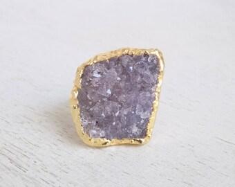 Purple Druzy Ring, Amethyst Druzy Ring, Large Gemstone Ring, Gold Stone Ring, Adjustable Ring, Statement Ring, Boho Ring, Drussy Ring, 9-24