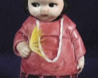 """antique german porcelain nodderdoll, figure, (repainted) """"nativ american girl"""" Germany ,3.3""""tall wire fixed"""