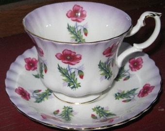 Royal Albert Poppies  # 4469 Teacup and Saucer