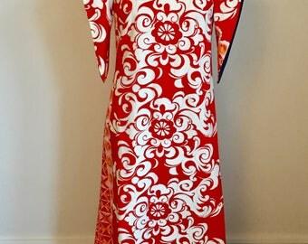 Vintage Bark cloth Hawaii dress Vintage Cruise ware 1960 -70s Mumu Beach Wear Vintage Maxi Dress Ritz Tiki Party Dress