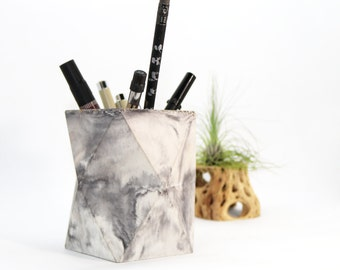 Geometric Concrete Pencil Holder // Pencil Cup // Desk Organizer (Marble)