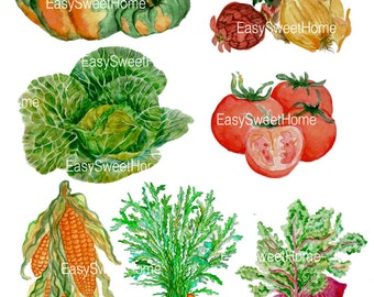 Vegetable Decals - Set of 7 Backsplash Decals for Kitchen - Hand Painted Stickers for Wall, Tile and Furniture - Decals by EasySweetHome