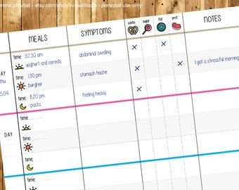 FOOD diary / meal PLANNER / SYMPTOMS tracker