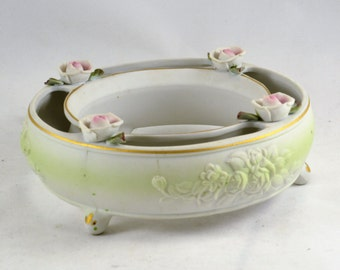 Posey Ring Flower Frog Vase - Porcelain Bisque Pansy Posie Ring - Roses - Cottage Chic - Spring Garden