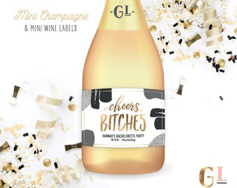 Cheers Bitches Mini Champagne Labels, Bachelorette Party Favors, Birthday Gift, Finally 21, Final Fling before the Ring Mini Champagne Label