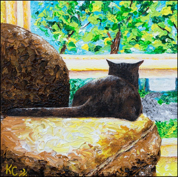 "Cat Art Print of My Cat Painting ""Cat TV"" - Cat Lady Gift, Cat Wall Art, Brown Cat Looking Out Window, Impressionist Cat Portrait, Cat Decor"