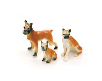Vintage Boxer family figurine. Mini miniature puppy pet. Dog figurine. Mini dog. Porcelain dog figurine.