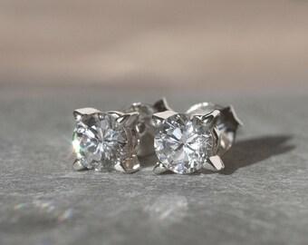 Cubic Zirconia Earrings, CZ Stud Earrings, Cubic Zirconia Stud Earrings, Sterling Silver Earrings, Christmas Earrings