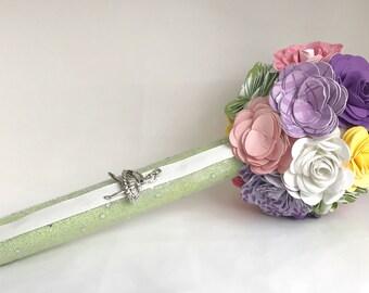 Dance recital Paper Flower Bouquet - ballet-  Purple, pink, green, yellow and white  - ballerina