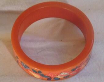 Vintage Bakelite Bangle Orange Bakelite Bracelet Painted Bakelite Bangle