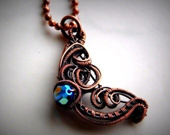 Blue Moon Pendant, Copper Moon Necklace, Wire Wrapped Copper Moon, Crescent Moon Pendant, Copper Jewelry, Gifts for Her, Wire woven Jewelry